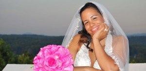 Happy bride after destination wedding