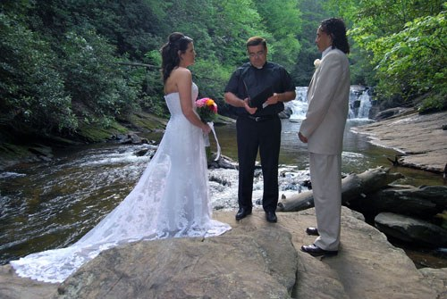 Rev. Rick at Waterfall Wedding